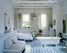 EVERYTHING ABOUT THIS!!! Bathroom at side of bedroom, shutters and high ceilings - for the new home:)