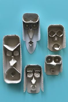 Egg carton faces kids crafts by Mini Mad Things Kids Crafts, Arts And Crafts, Paper Crafts, Funny Crafts For Kids, 3d Paper, School Art Projects, Projects For Kids, Diy For Kids, Diy Niños Manualidades