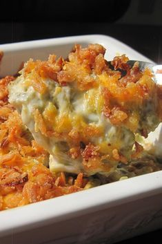 """This great variation of the traditional green bean casserole is topped with French fried onions and Cheddar cheese."" Look no further for the best creamy cheesy green bean casserole! Only a few simple ingredients, canned green Vegetable Dishes, Vegetable Recipes, Vegetable Pie, Casserole Dishes, Casserole Recipes, Breakfast Casserole, Broccoli Casserole, Chicken Casserole, Best Green Bean Casserole"