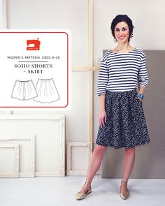 digital soho shorts + skirt sewing pattern