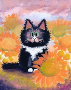 Cute fuzzy cat painting in a field of sunflowers.