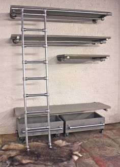 Pale Grey Washed Reclaimed Scaffolding Board and Galvanised Steel Pipe Industrial Open Wardrobe Shelving and Hanging Unit with roll out drawers - Its industrial design works perfectly in an urban sophisticated, casual.