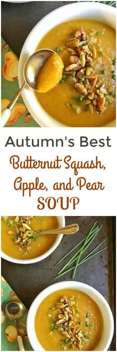 Autumn's Best Butternut Squash, Apple and Pear Soup via MealMakeoverMoms.com/kitchen #soup