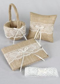 Bring elegance and rustic design together with this burlap collection set decorated in delicate ivory lace. Style DB87GS #rusticweddings #davidsbridal