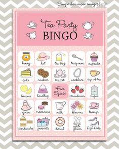 Tea Party Bingo 20 unique game cards Printable by PaperGemsShop