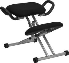 Reduce lower back strain and regain your body's natural posture with this ergonomic kneeling chair. Kneeling chairs sit you in a position to allow your diaphragm to move efficiently and promote better