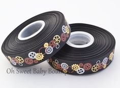 Black SteamPunk Ribbon-steampunk, steam, punk, crafts, ribbon, wholesale, grosgrain, edgy, trendy, scrapbook, gears, watches, clocks, compas...
