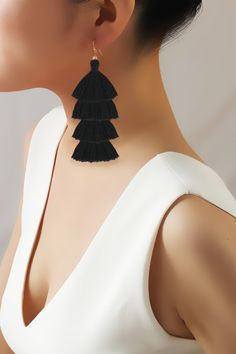 Swooning over these Taolei Black Tiered Tassel Earrings
