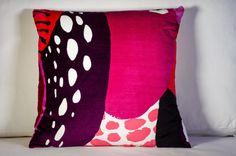 Velvet Marimekko Pillow Cover | Pink velvet pillow | Kurpitsa pattern | Fuchsia and Purple pillow | 20x20 pillow | Cozy pillow by PantsandPillows