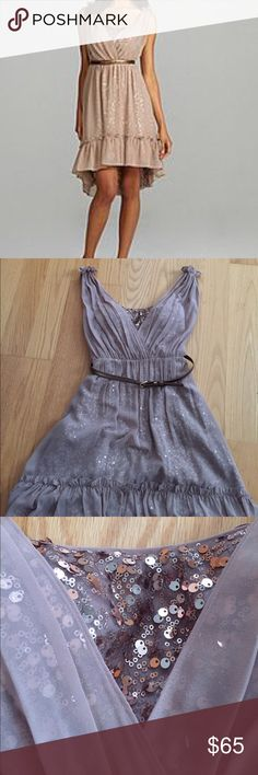 Jessica Simpson event dress sequin size 8 Jessica Simpson event dress sequin size 8. Side zip closure. Sequin underlay. Built in bra. Sheer overlay. Very flattering. Worn once! The color is a caramel/ light brown. Picture from google shows actual color. Jessica Simpson Dresses Midi