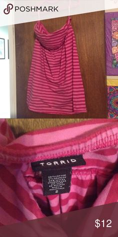 Torrid Size 2 Pink Striped Tube Top Sleeveless EUC Torrid Size 2 Pink Striped Tube Top Sleeveless EUC torrid Tops