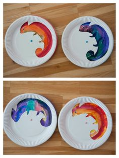 Chameleon from paper plates - he can change his colour! :) from Neposedné nožnice