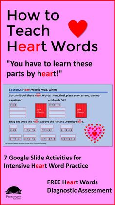 Learn 7 Google slide or print activities to teach Heart Words. Plus, download the FREE Heart Words Assessment to help you differentiate instruction. Common Core Vocabulary, Academic Vocabulary, Teaching Vocabulary, Phonics Books, Phonics Lessons, Response To Intervention, Reading Intervention, Vocabulary Instruction, Differentiated Instruction