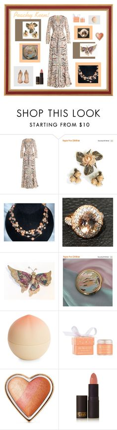 """Peachy Keen!"" by anna-ragland ❤ liked on Polyvore featuring Etro, Tony Moly, Sara Happ, Too Faced Cosmetics, Lipstick Queen, Gianvito Rossi, vintage, cosmetics, vintagejewelry and vintagefashion"
