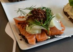 Aamanns Etablissement in København, Region Hovedstaden Aamanns Salted Icelandic salmon with picked green tomatoes, smoked cheese, dill and rye crumbs Smoked Cheese, European Cuisine, Luxury Restaurant, Green Tomatoes, Fine Wine, Fine Dining, Deli, Street Food, Wine Recipes