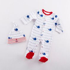 Land ho! This sweet nautical themed PJ set with a cute whale, waves and anchor design will keep baby cozy throughout the night.   Nautical PJs Gift Set