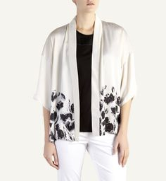 This silk-like unconstructed kimono jacket with a painterly floral print along the border adds oriental romance to summer's softer side. Kimono Jacket, Kimono Top, Florals, Mothers, Oriental, Floral Prints, Romance, Silk, Sweaters
