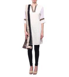 Ivory & Black Georgette & Net Kurta With Churidars & Dupatta #indianroots #ethnicwear #churidar #kurta #dupatta #georgette #net #occasionwear #summerwear #casualwear