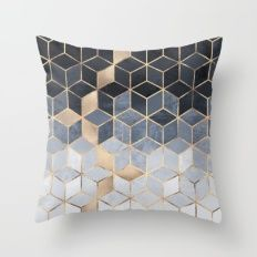 Throw Pillow featuring Soft Blue Gradient Cubes by Elisabeth Fredriksson