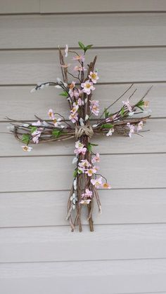 Easter Cross - Cuttings from crepe myrtle limbs, held together by twine, floral . Easter Cross - C Easter Religious, Christian Crafts, Cross Crafts, Easter Cross, Palm Sunday, Easter Projects, Deco Floral, Diy Arts And Crafts, Easter Wreaths