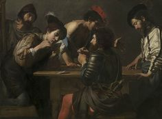 Valentin de Boulogne (French, Coulommiers-en-Brie 1591-1632 Rome), Soldiers Playing Cards and Dice (The Cheats), circa 1618 to c. 1620. © London, National Gallery.
