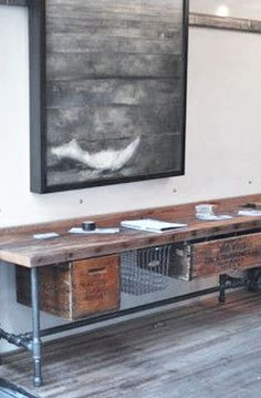 = wood and scaffold bench with vintage crates and wire drawers