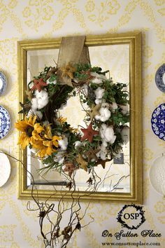 Natural Fall Decor | Cotton Boll Wreath | A burlap hanger places the wreath on a mirror for extra depth.