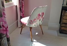 Gorgeous re-loved chair from Hickey and Dobson | 1940's Communist chair in a plain pink felt on the front and a gorgeous white embroidered linen by Designers Guild on the reverse