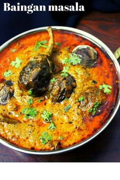 Baingan masala is a delicious masala gravy using some masala ingredients such as coconut, peanuts, poppy seeds that have been cooked in stir fried brinjals. Baigan Recipes, Paneer Recipes, Curry Recipes, Rice Recipes, Goan Recipes, Brinjal Recipes Indian, Indian Veg Recipes, Veg Gravy Recipe Indian, Indian Eggplant Recipes