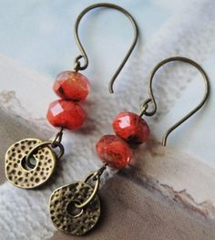 Items similar to Organic Metal Discs And Coral Colored Glass Earrings on Etsy Wire Jewelry, Jewelry Crafts, Jewelry Art, Beaded Jewelry, Jewelry Design, Fashion Jewelry, Jewelry Ideas, Glass Earrings, Beaded Earrings