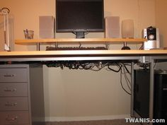 Ikea galant computer desk with monitor riser multi monitors