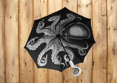When dark skies roll in, and ominous clouds come overhead, brave the storm with The Kraken Umbrella.