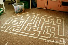 Our Scribbled Walls: Masking Tape Maze maybe use painters tape instead Rainy Day Activities For Kids, Mazes For Kids, Activities To Do, Toddler Activities, Summer Activities, Outdoor Activities, Rainy Day Crafts, Homemade Moon Sand, Bored Kids