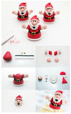 Santa step-by-step tutorial - For all your Christmas cake decorations, please visit www. Santa step-by-step tutorial - For all your Christmas cake decorations, please visit www. Christmas Cake Designs, Christmas Cake Topper, Christmas Cake Decorations, Fondant Decorations, Christmas Cupcakes, Christmas Sweets, Christmas Cooking, Christmas Goodies, Fondant Christmas Cake
