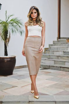 Iorane Beige Chic Leather Pencil Mid Calf Length Maxi Skirt - Beautiful Clothes Photo