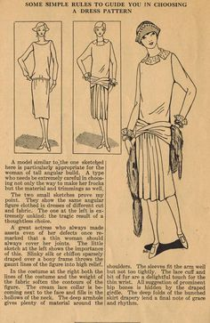 Home Sewing Tips from the 1920s - Choosing a Dress for a Tall Slim Figure