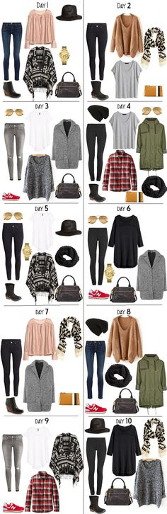 19 pieces + accessories will give you 10+ outfits. Outfit options for the packing light 10 Days in New Zealand packing list on my blog. #packinglight #travellight #packinglist