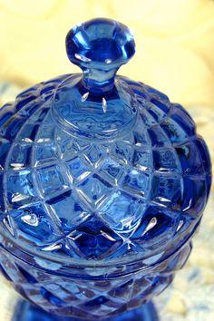 Sparkling Cobalt Blue Molded Glass Fancy by TinyandBeautiful