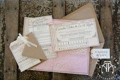 Vintage Train Ticket Custom Wedding Invitation | Sewn Wedding Invitation | Paper Planet Tracy Autem Photography Tami Winn Events