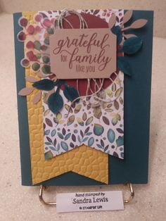 I used Pretty Peacock card stock for my base. A piece of Crushed Curry, embossed with the new Hammered Metal embossing folder. A piece of white inside to finish it off. Paper Crafts Origami, Paper Crafts For Kids, Stampin Up Paper Pumpkin, Pumpkin Cards, Embossed Cards, Stamping Up Cards, Thanksgiving Cards, Fall Cards, Halloween Cards
