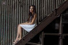 Modelo, escaleras, madera.