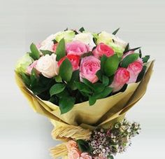 Soft Roses Bouquet...Romantic and delicate. A beautiful bouquet with 30pcs mix roses, delicately arrange and wrapped with special wrapping paper. True romantic gifts for your special one.