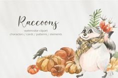 Cute Raccoon, Baby Stickers, Fall Bouquets, Fall Scarves, Winter Cards, Cute Cards, Funny Cute, Decor Crafts, Fabric Crafts