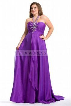 A-line Floor-Length Halter Taffeta Plus Size Bridesmaid Dresses P0011