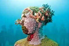 o escultor britânico Jason de Caires Taylor criou estátuas de concreto e aço e as colocou no fundo do litoral de Cancún, no México. Depois de colocadas no fundo do oceano, as estátuas demoram seis anos para serem completamente cobertas por corais.