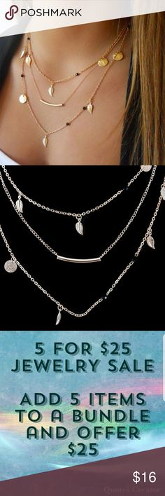 5for$25 Three Layer Leaf Necklace Gold Color leaf necklace Jewelry Necklaces