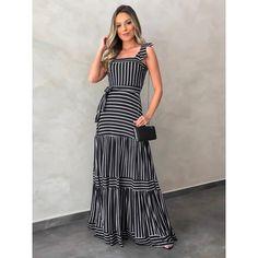 Vestido Longo Nadia Listras Off/preto - Estacao Store