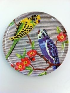 budgie tapestry plate 25cm