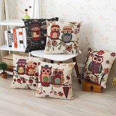 Vintage Lindo Con Dibujo De Búho Cotton Linen Pillow Funda Sofá Cobertor Funda De Cojín Decoración del Hogar