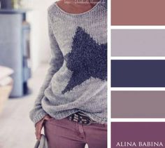 Blue, lilac, brown and grey